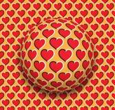 La boule avec des coeurs modèlent le roulement le long de la surface rouge de coeurs Illustration abstraite d'illusion optique de Photos libres de droits