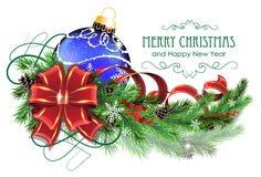 La boule bleue de Noël avec l'arc et le sapin rouges s'embranche illustration stock