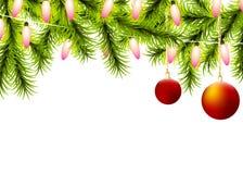 La boule d'arbre de Noël allume la guirlande illustration de vecteur