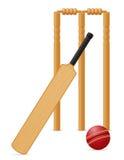La boule de batte d'équipement de cricket et le guichet dirigent l'illustration Image libre de droits