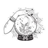 La boule de cristal magique tirée par la main avec des gemmes et le croissant de lune dans des mains de schéma et point diseur de illustration de vecteur