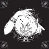 La boule de cristal magique tirée par la main avec des gemmes et le croissant de lune dans des mains de schéma et point diseur de illustration libre de droits