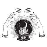 La boule de cristal magique tirée par la main avec des gemmes et le croissant de lune dans des mains de schéma et point diseur de illustration stock
