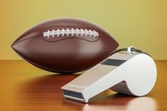 La boule de football américain avec le sifflement sur la table en bois, 3D les déchirent illustration stock