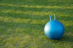 La boule de forme physique s'étend sur une herbe Image stock