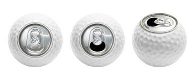 La boule de golf peut d'isolement Photographie stock