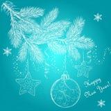 La boule de hristmas de ¡ de l'arbre Ð de nouvelle année tient le premier rôle des flocons de neige Photographie stock libre de droits