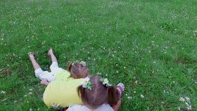La boule de jeu d'enfants, configuration sur l'herbe, parmi les marguerites, emportent entre eux la boule Ils ont l'amusement Été banque de vidéos