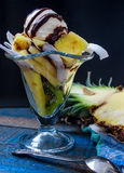 La boule de la crème glacée dans un verre de dessert avec des fruits Photographie stock