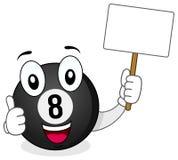 La boule de piscine noire avec des pouces se lèvent et bannière Image libre de droits