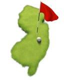 La boule et le mât de drapeau de golf sur le putting green de cours ont formé comme l'état de New Jersey illustration de vecteur
