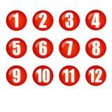 La boule rouge numérote des boutons Photos stock