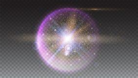 La boule rougeoyante lumineuse a rempli de particules et de poussière Image libre de droits