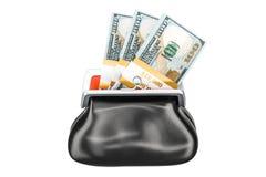 La bourse avec le dollar emballe à l'intérieur, le rendu 3D Images stock