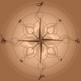 La boussole beige avec le vent a monté Images libres de droits