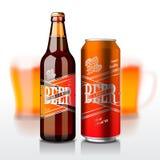 La bouteille à bière et peut Images stock