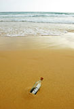 La bouteille avec l'euro se connectent le sable de la plage Photographie stock libre de droits