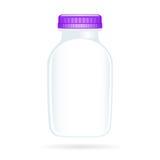 La bouteille blanc de yaourt a isolé Images libres de droits