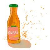 La bouteille de sauce à cari avec éclabousse Photo stock