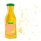 La bouteille de sauce à moutarde avec éclabousse Photo libre de droits