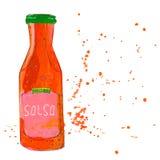 La bouteille de sauce à Salsa avec éclabousse Photos libres de droits