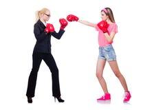 La boxe de femme d'affaires et de sportif d'isolement dessus Photographie stock