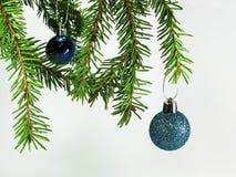 La branche d'un arbre de Noël avec Noël joue Image stock