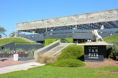 La Brea Tar Pits George Page Museum. LOS ANGELES - MARCH 28, 2018: George C Page Museum at the La Brea Tar Pits. Situated within what was once the Mexican land Royalty Free Stock Photography