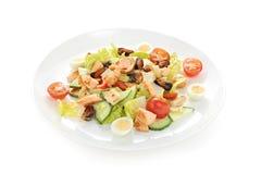 La brezza di mare calda dell'insalata con le cozze del calamaro della ciliegia del pomodoro ha arrostito le uova di quaglia di co Immagini Stock