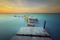 La brique et le beau coucher du soleil Images libres de droits