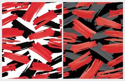 La brocha abstracta divertida alinea el modelo del vector Rojo y rayas negras en un fondo blanco stock de ilustración