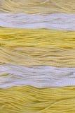 La broderie jaune et blanche de coton filète le fond Images libres de droits