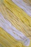 La broderie jaune et blanche de coton filète le fond Image libre de droits