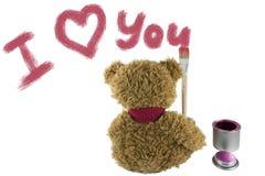 La brosse d'ours de nounours écrit je t'aime Images libres de droits