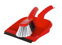 La brosse et la pelle à poussière ensemble et préparent pour spring cleaning Photographie stock libre de droits