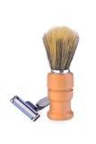 La brosse et le rasoir de rasage Photos stock
