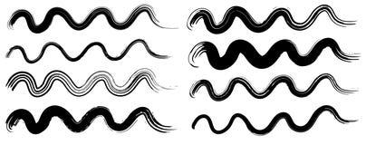 La brosse sèche grunge frotte la collection de vagues D'isolement, vecteur Ensemble tiré par la main Photo stock