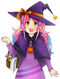 La bruja bonita de Halloween en estilo japonés del manga, crea por el vec Imagen de archivo libre de regalías