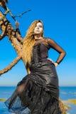 La bruja en el mar en Halloween fotos de archivo