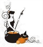 La bruja está cocinando la poción de la calabaza Imagen de archivo