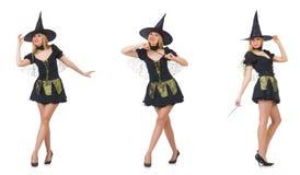 La bruja hermosa en el vestido negro aislado en blanco Imágenes de archivo libres de regalías