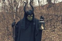 La bruja verde en el bosque del otoño Fotografía de archivo libre de regalías