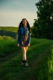 La brune marche sur un pré vert Photo stock