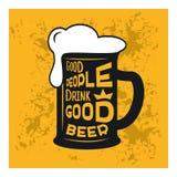 La buena gente bebe la buena cerveza - cita temática de la cerveza dentro del vidrio de cerveza, ejemplo común del vintage, diseñ libre illustration