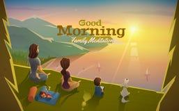 La buena mañana, deja la meditación con la familia Foto de archivo libre de regalías