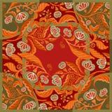 La bufanda de seda con las flores abstractas vector el modelo con los elementos florales dibujados mano libre illustration