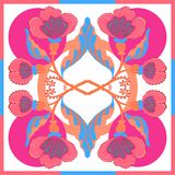La bufanda de seda con las flores abstractas vector el modelo con los elementos florales dibujados mano Imagen de archivo libre de regalías