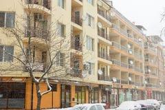 La Bulgarie en janvier : neige dans Pomorie Image libre de droits