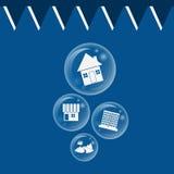 La bulle d'immobiliers a éclaté pour le concept de bulle économique illustration libre de droits