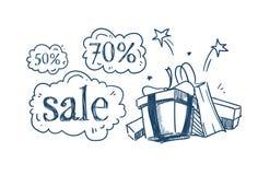 La bulle de achat de causerie de prix discount de concept de vente de paquets d'achats de cadeau sur le croquis blanc de fond gri Illustration Stock